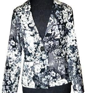CHICO'S Women's Gray Floral Blazer
